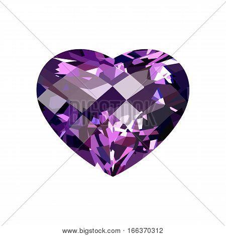 Realistic purple amethyst heart-shaped. Gem. Vector illustration.