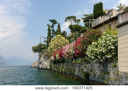 Garda lake waterfront in Malcesine Italy on a sunny summer day.