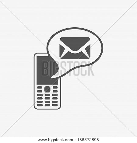 Phone icon with message stock vector illustration flat design