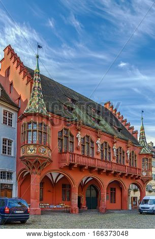 The Historical Merchants Hall on Munsterplatz Freiburg im Breisgau Germany