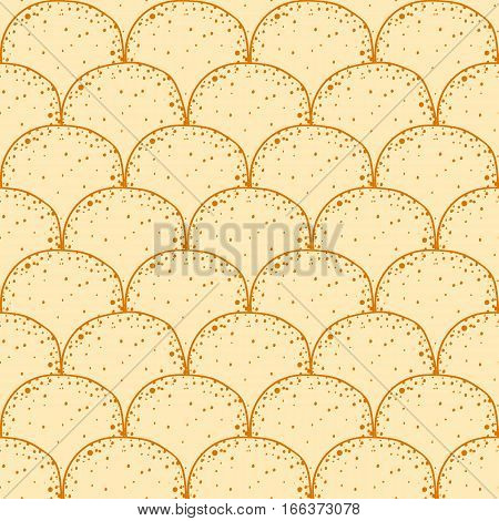 Russian holiday Maslenitsa. Pancake is a symbol of Shrovetide. Hand drawn seamless pattern vector tileable background