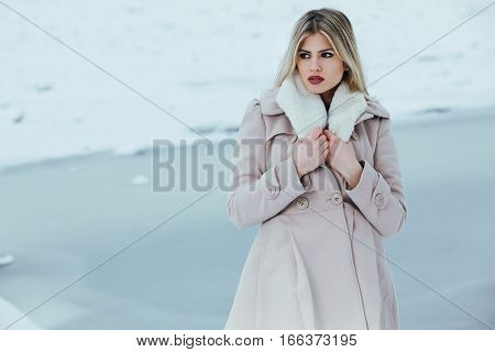 Portrait of a young beautiful woman on winter day in the coat