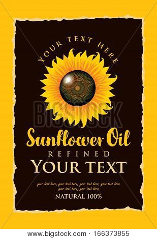vector label for refined sunflower oil with sunflower