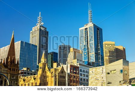 Skyscrapers of Melbourne Central Business District in Australia