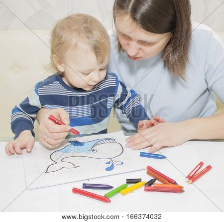 Mother and son are drawing together with pencils at table, draw whale