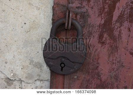 barn rusty lock protection rusted painted door