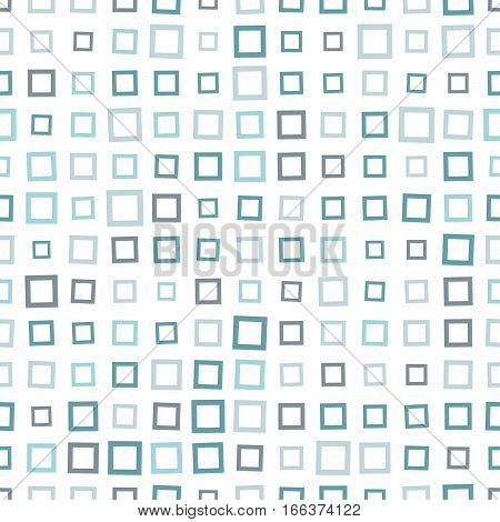 Seamless Pattern Of Squares In Cool Shades Of Green.