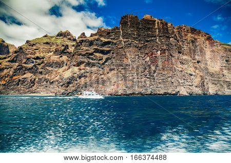 sea splashes from the boat on the way from Masca canyon to Los Gigantes Tenerife Spain