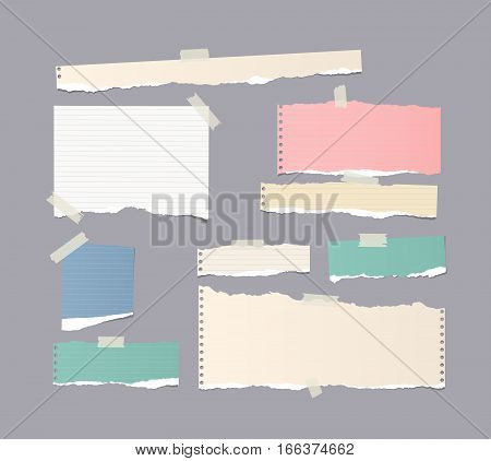 Pieces of different size ruled and blank colorful note, notebook, copybook paper sheets stuck with sticky tape on gray background.