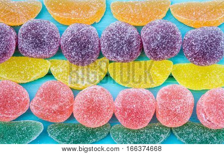 Colorful Candy And Jelly Sweet Close Up.