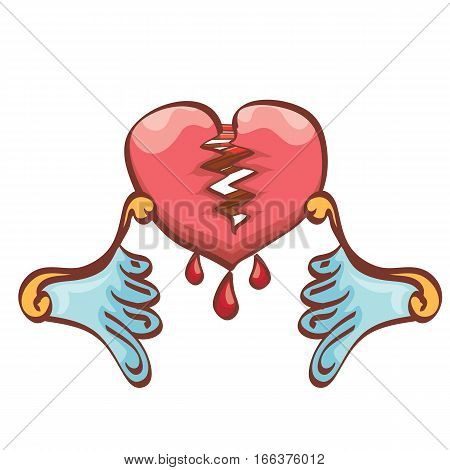 vector cartoon style red broken heart isolated on white background. vector concept icon of divorce, depression, bad mood, heart disease or unrecognized teen love.