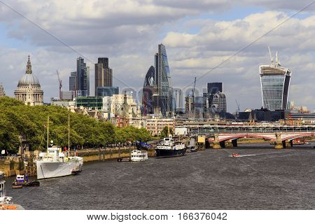 LONDON, GREAT BRITAIN - MAY 9, 2014: This is panoramic view of the City of London.