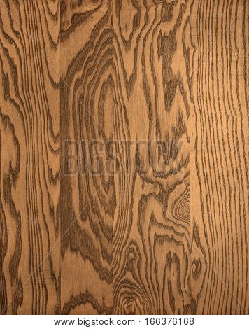 Wood plank, heavily grained and textured with a rich brown veneer.