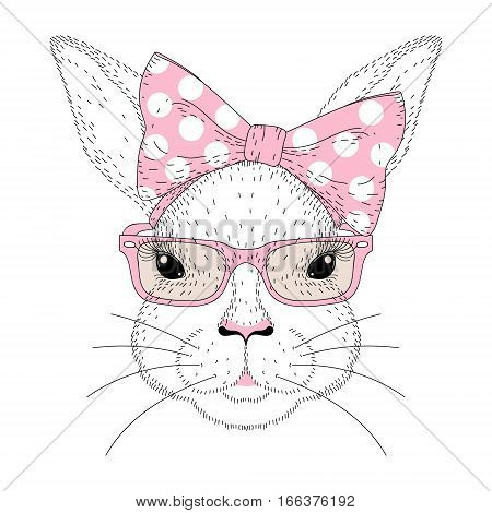 Vector cute bunny girl portrait. Hand drawn rabbit fashion face with pink pin up bow tie on head, sunglasses. Animal illustration for t-shirt print, kids greeting card, Happy Easter symbol.