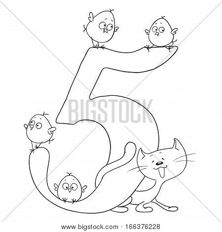 Number five. Cute cartoon animals. Numbers and animals. Chicken and kitten. Funny figurines to paint. Vector doodle isolated on white background