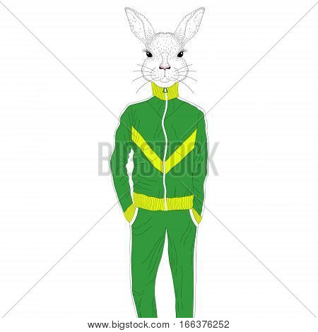 Vector brutal rabbit boy in sport suit 90s. Hand drawn anthropomorphic animal cartoon, cheerful fashion bunny in sportwear, illustration for t-shirt print, kids greeting card, invitation for party.