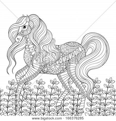 Racing horse adult anti stress coloring page. Hand drawn zentangle mustang for colouring, book cover, art therapy, greeting card, t-shirt print, patterned ethnic decoration elements.