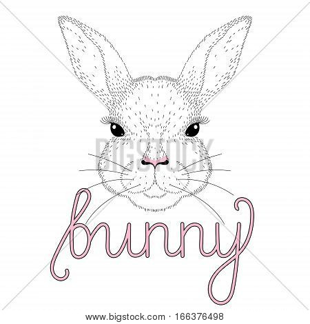 Vector cute bunny portrait. Hand drawn illustration for t-shirt print, kids greeting card, invitation for party. Cheerful animal face for Happy Easter.