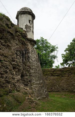 June 10, 2016 Colon Panama: the moat at the entrance to the ruins of fort San Lorenzo a world heritage site