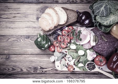 Vintage Fresh Meat, Vegetables And Spices