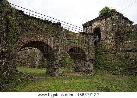 June 10 2016 Colon Panama: the moat at the entrance to the ruins of fort San Lorenzo a world heritage site seen from the bottom