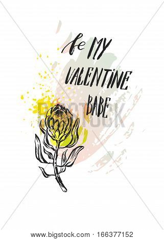 Hand made vector graphic abstract floral card template with composition of protea flowers isolated on white background.Handwritten ink modern calligraphy phase Be my Valentine babe