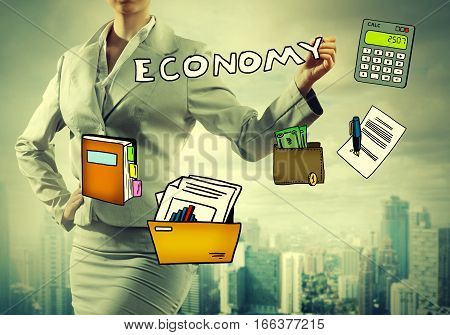 Close up of businesswoman drawing on screen business concept