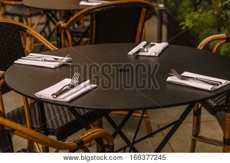 restaurant, cafe, bar, bistro, table, lunch, brown, cutlery