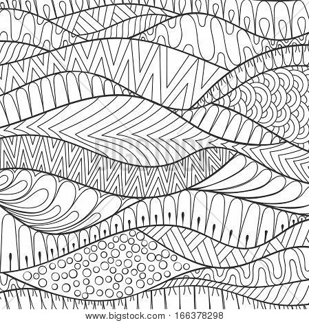 Vector hand drawn stripe monochrome background, outline ornamental illustration in ethnic zentangle style for adult coloring pages. Abstract decoration doodle element.