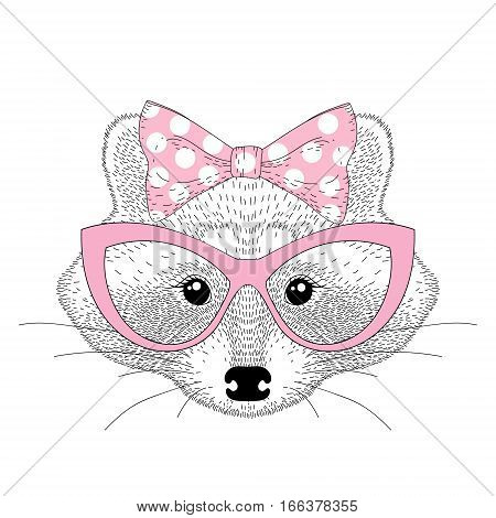 Vector cute raccoon girl portrait with cat eyes glasses. Hand drawn anthropomorphic animal cartoon illustration for t-shirt print, kids greeting card, invitation for pet party.