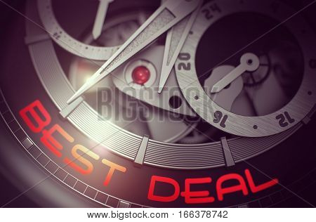 Elegant Wristwatch with Best Deal Inscription on Face. Best Deal - Old Wristwatch Inside Mechanism Close View with Inscription on Face. Time Concept with Glow Effect and Lens Flare. 3D Rendering.