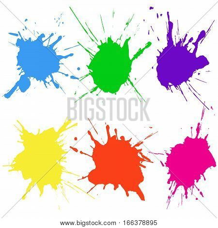 Paint color splat set. Abstract vector illustration.