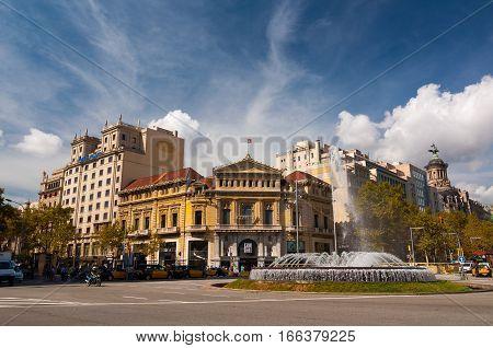 Fountain On The Passeig De Gracia. Barcelona, Spain.