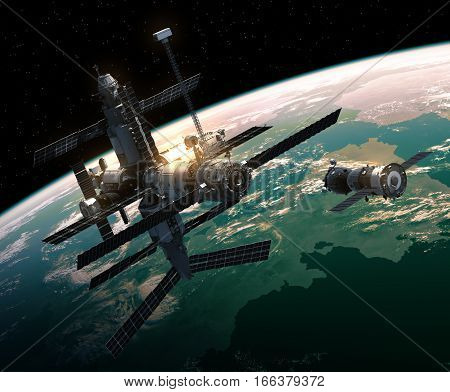 Spacecraft Is Preparing To Dock With Space Station. 3D Illustration.