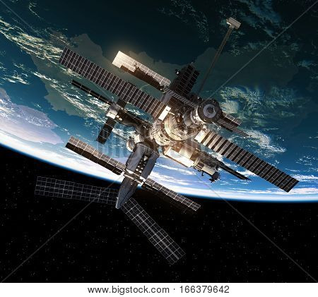 Flight Of Space Station In Outer Space. 3D Illustration.