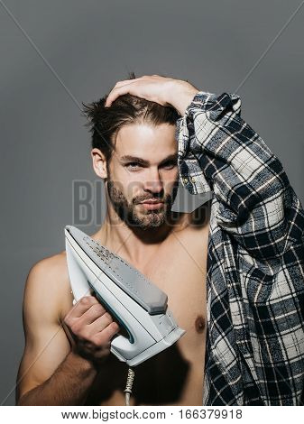 Sexy Shirtless Man With Iron
