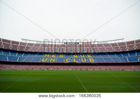 Stand Displaying Barcelona's Motto, Mes Que Un Club
