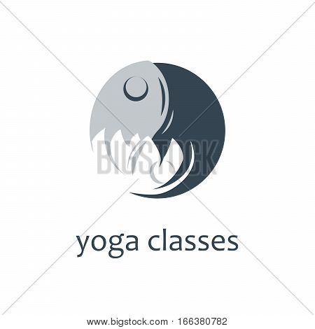 Yoga creative symbol. Meditation clasees Vector logo template
