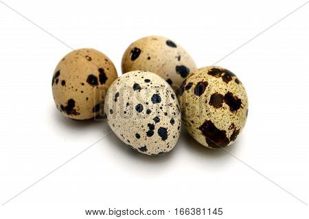 Images of quail eggs with high nutritional value with infinite white background