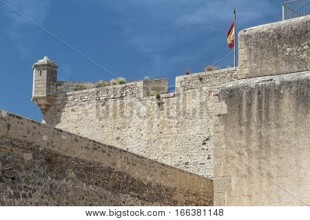 rampart and sentry box in Santa Barbara castle in alicante spain with the sky as background