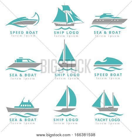 Boat logo and yacht label set. Fast motor yacht, speedboats and waves signs vector illustration. Marine transportation logo collection