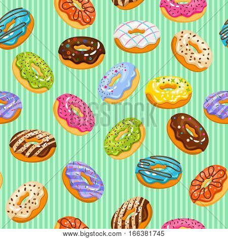 Sweet heart donuts texture. Vector striped background with donut cakes for birthday. Seamless background color donuts illustration