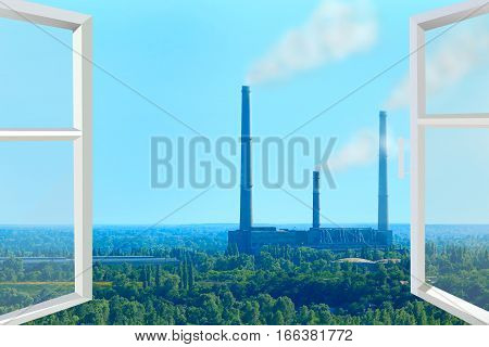 window overlooking the landscape with nature and pollution of environment by industrial tubes