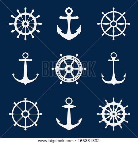 Steering ship wheels and anchors icons. Naval navigation vector signs. Set white silhouettes of anchors and steering wheels illustration poster