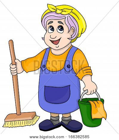 The housemaid in a blue apron with a bucket and mop.