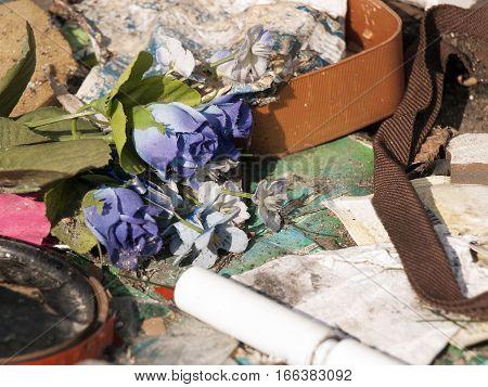 closeup of a garbage dump - environmental degradation
