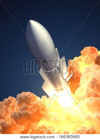 Rocket launch In The Clouds Of Fire. 3D Illustration.