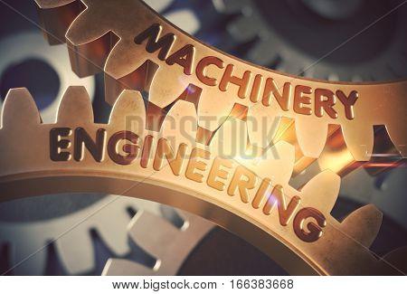 Machinery Engineering on Mechanism of Golden Metallic Gears. Machinery Engineering Golden Gears. 3D Rendering.