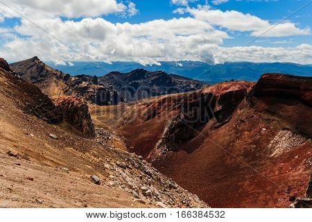 Landscape View Of Red Crater In Tongariro, New Zealand
