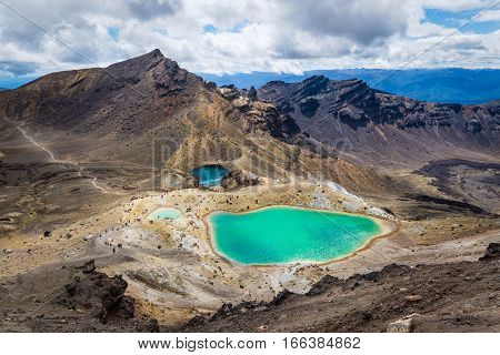 Landscape View Of Colorful Emerald Lakes And Volcanic Landscape, Nz